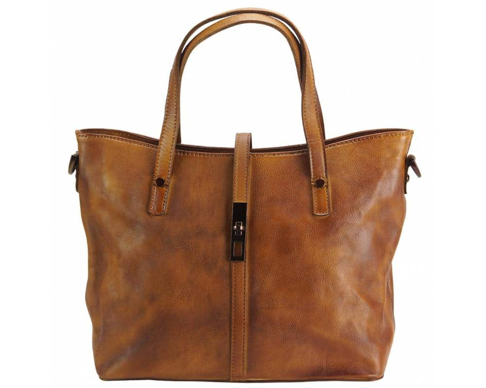 tan handbag in vintage genuine leather dana for woman