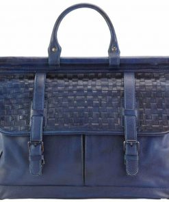 dark blue travel bag from woven genuine leather donca for woman
