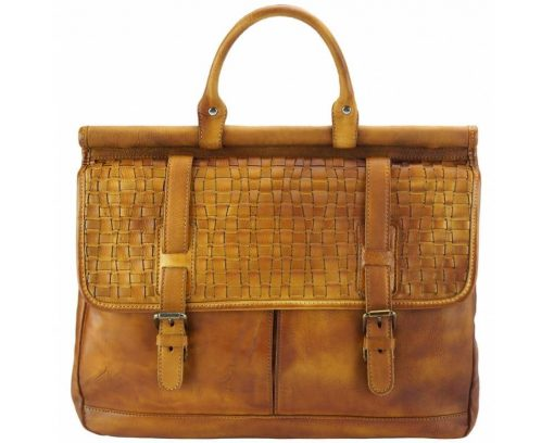 tan travel bag from woven genuine leather donca for woman