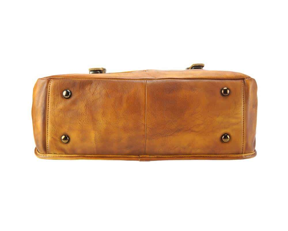 brown travel bag from woven italian genuine leather donca for woman