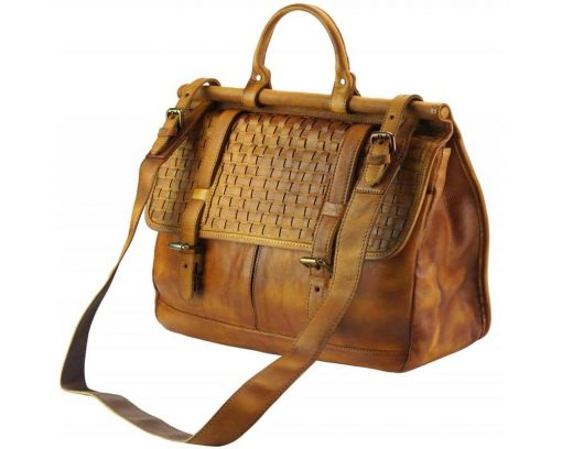 brown bag from woven italian genuine leather donca for man