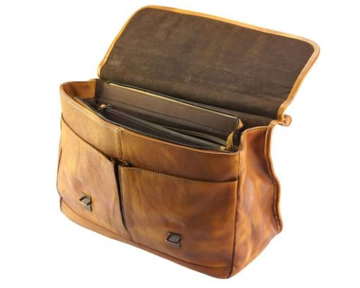 brown bag from woven italian leather donca for man