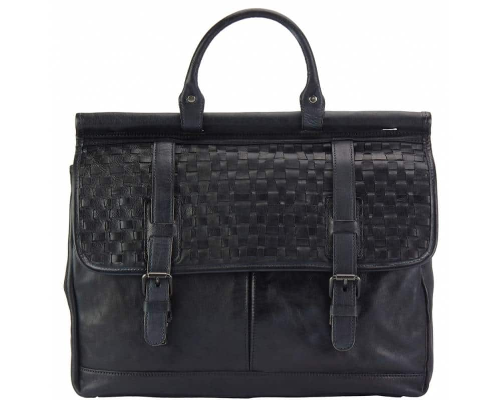 black bag from woven italian leather donca for man