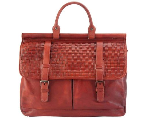 red bag from woven italian leather donca unisex