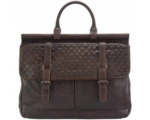 dark brown bag from woven italian leather donca for woman