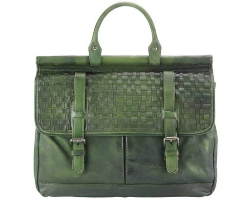 dark green bag from woven italian leather for man