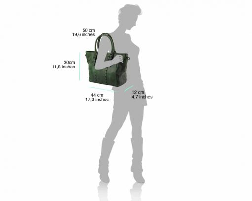 green hand bag with vintage leather for woman