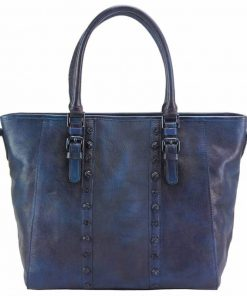 dark blue handbag bogna in vintage genuine leather from italy for woman
