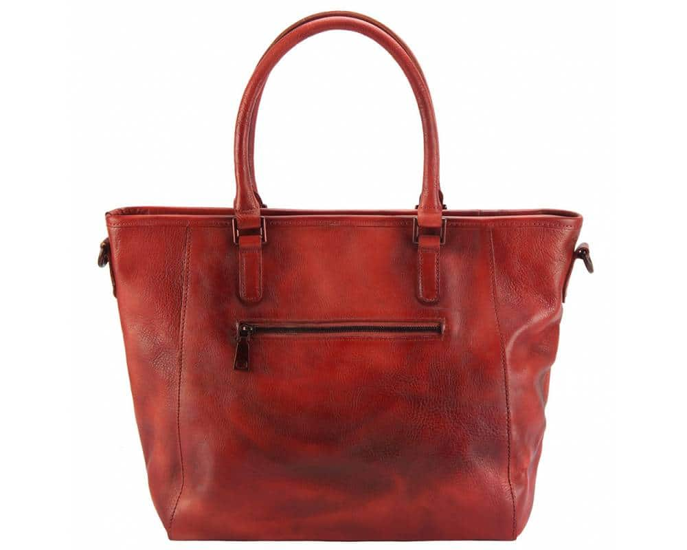 red handbag bogna in vintage leather for woman