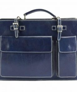 dark blue business bag viorica in natural leather rigid construction
