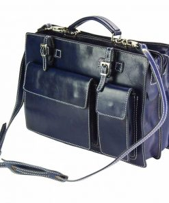 dark blue business bag viorica in soft genuine leather rigid construction