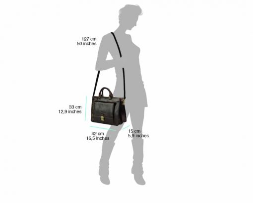 dark brown business bag for woman from genuine leather
