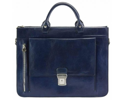 blue business bag in real leather Alexandrina from italy for woman