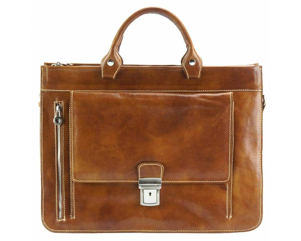 brown business bag in real leather Alexandrina from italy for women