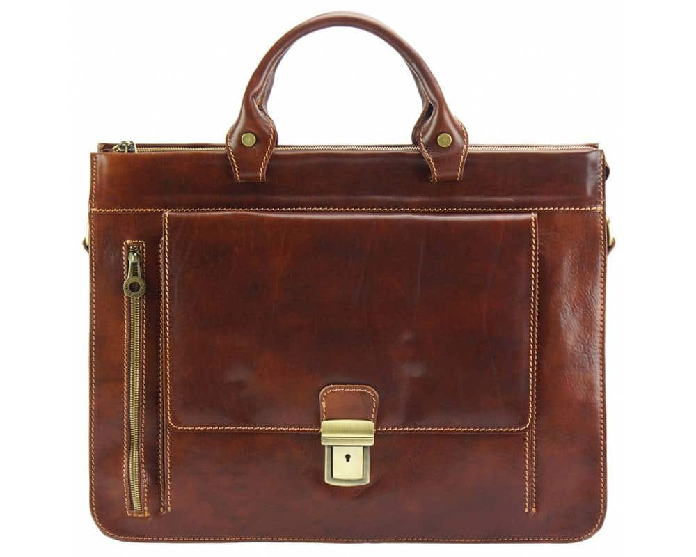 dark brown business bag in genuine leather Alexandrina from italy