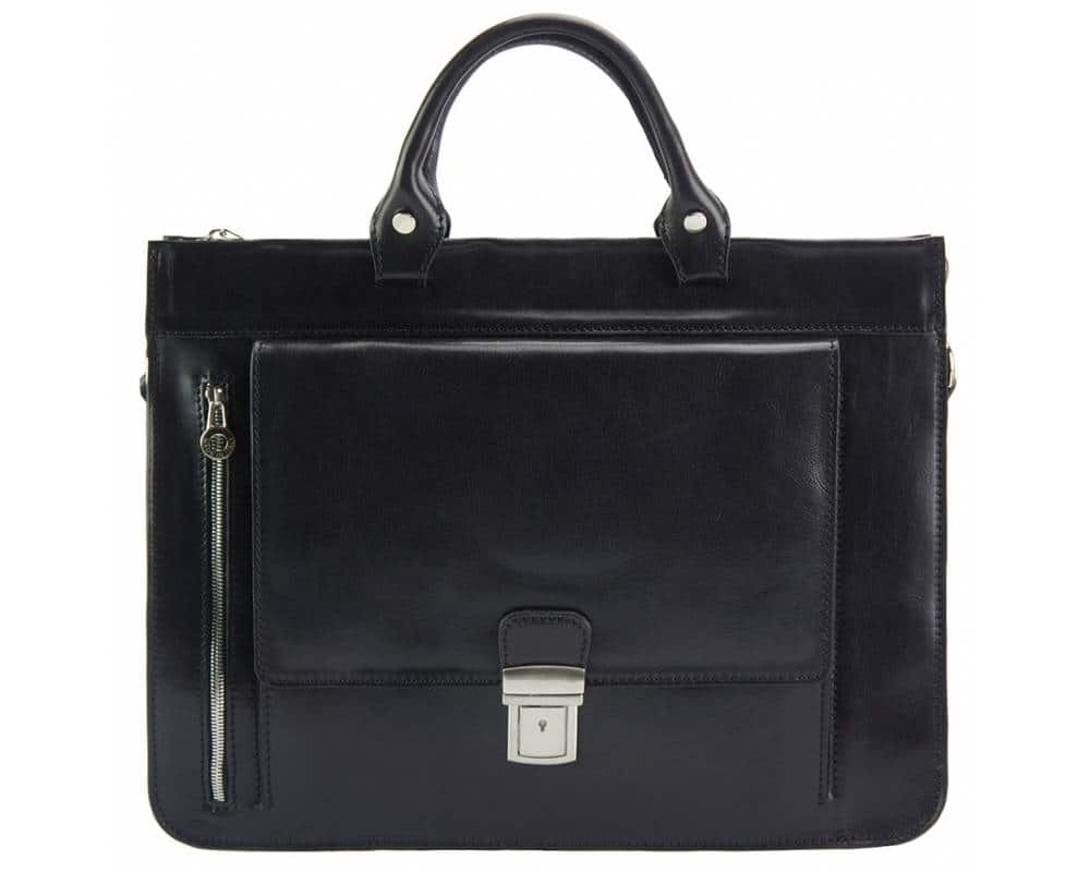 black business bag in real leather Alexandrina from italy for woman