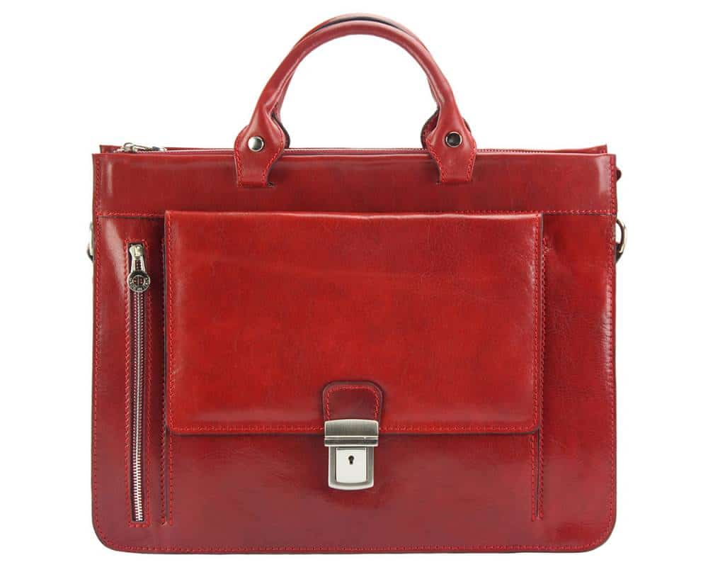 red business bag in leather Alexandrina from italy