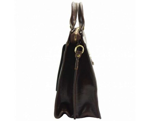 brown business bag in genuine leather Alexandrina from italy for woman
