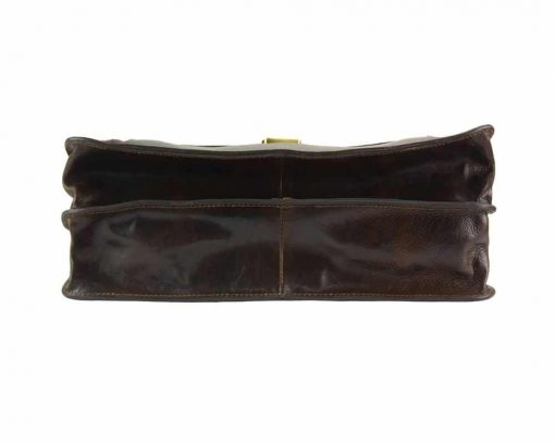 brown business bag in rigid genuine leather Alexandrina from italy