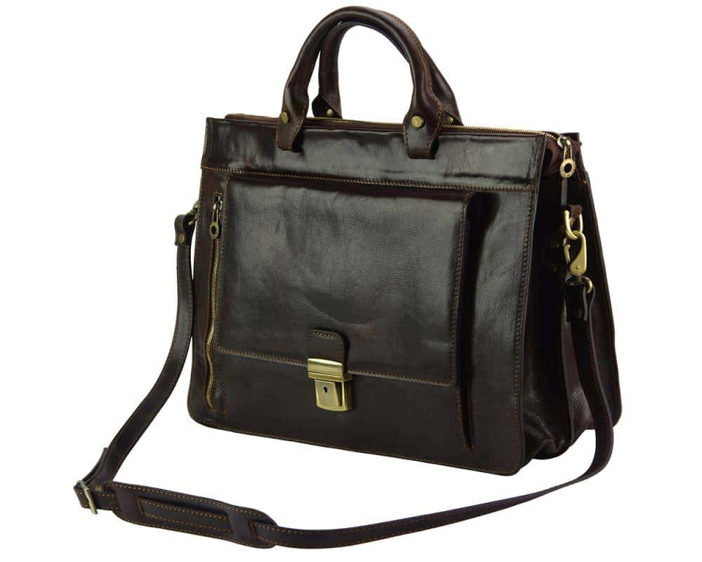 brown business bag in rigid leather Alexandrina from italy