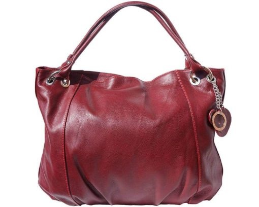 woman bordeaux shoulder bag in genuine genuine leather from italy
