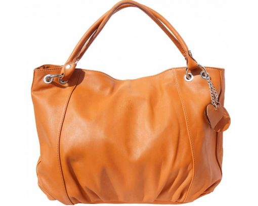 woman tan shoulder bag in soft natural leather from italy