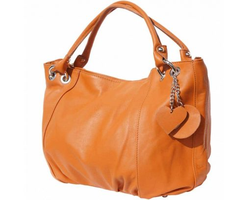 woman tan shoulder bag in soft real leather from italy