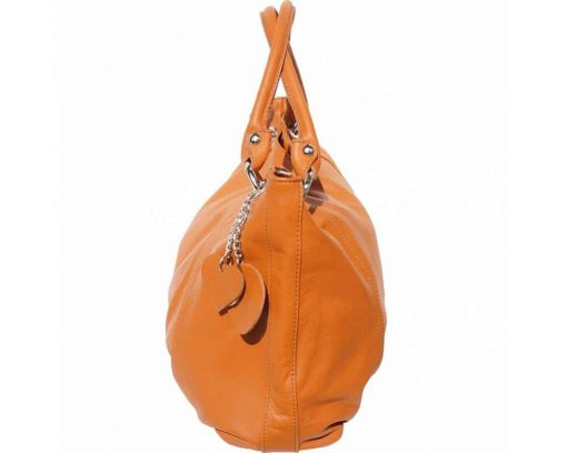 tan shoulder bag in soft genuine leather from italy for woman