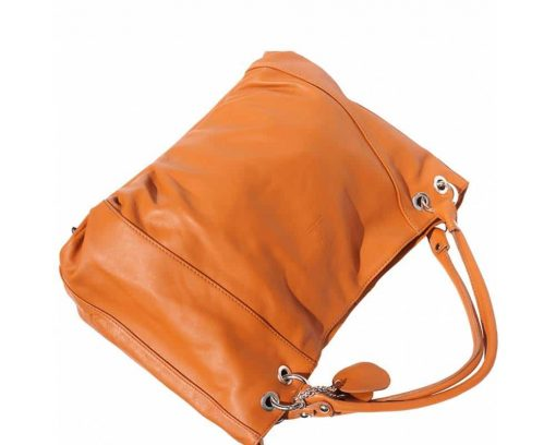 tan shoulder bag in soft structure in genuine leather from italy for woman