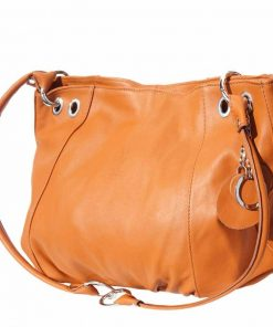 tan shoulder bag in soft structure for woman
