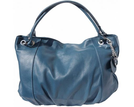 dark turquoise shoulder bag in soft structure for woman