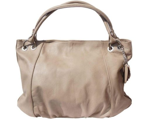 light taupe shoulder bag in soft structure in genuine leather