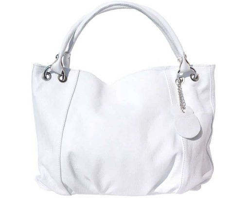white shoulder bag in soft structure in genuine leather