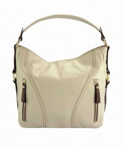 beige brown bag in genuine leather from italy for woman