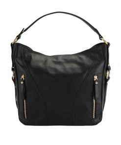 black color shoulder bag in genuine leather from italy