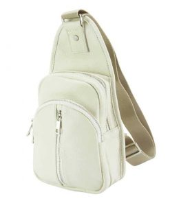 beige backpack in calfskin leather from italy