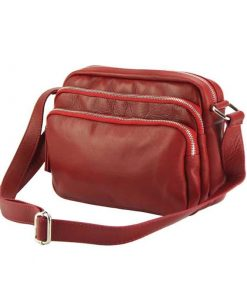 red cross body bag in soft leather for woman
