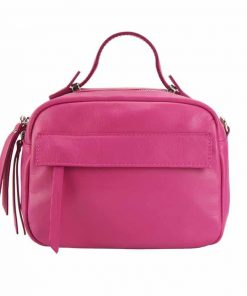 fuchsia handbag in soft leather for woman