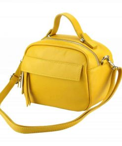 yellow handbag in real leather for woman