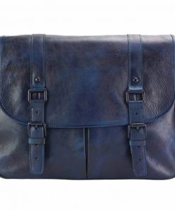 dark blue messenger in vintage soft genuine leather unisex