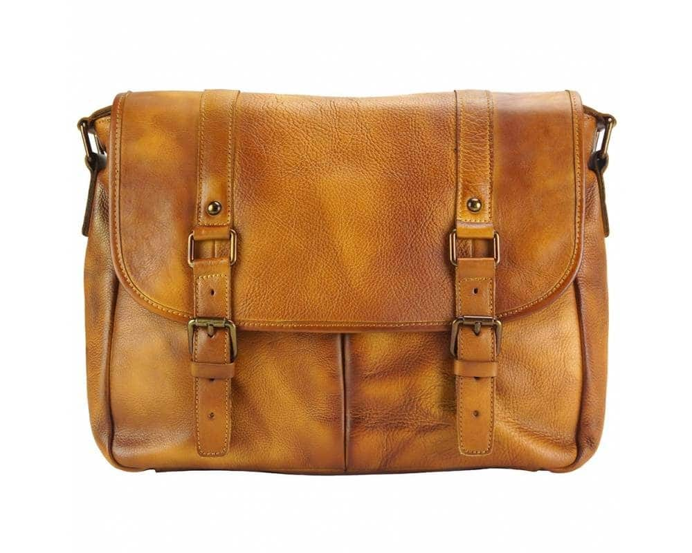 light brown messenger in vintage soft genuine leather unisex