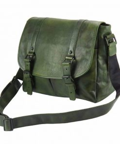 dark green messenger in genuine leather