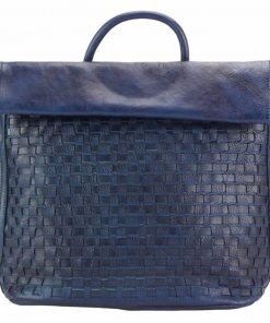 dark blue bag in vintage woven real leather unisex
