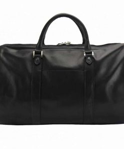 black travel bag in genuine leather unisex