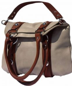light taupe brown hand bag from italy for woman