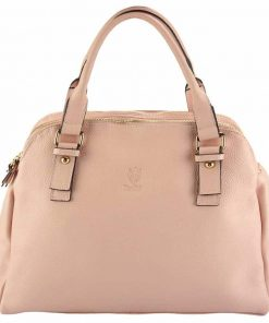 pink handbag from italy from genuine leather leather for woman
