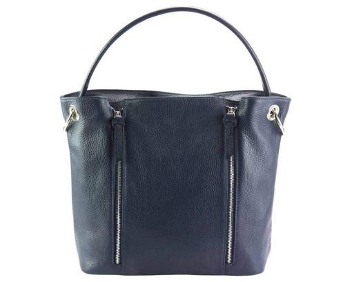 dark blue color shoulder bag in leather from italy anita