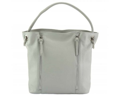 light taupe shoulder bag in leather from italy for woman