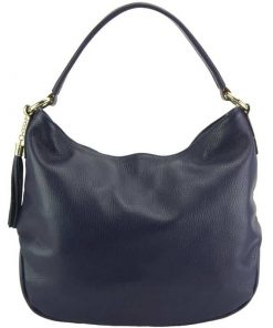 Arabela dark blue shoulderbag from natural leather from italy