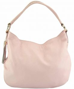 pink shoulderbag from natural leather from italy for woman